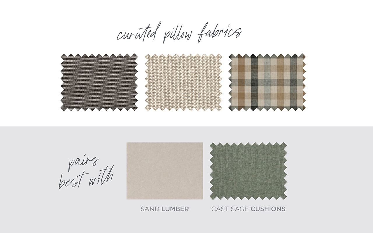Rustic farmhouse curated fabric selection
