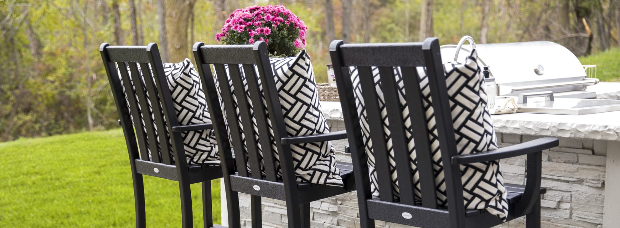 Vineyard Bar Arm Chairs in Black