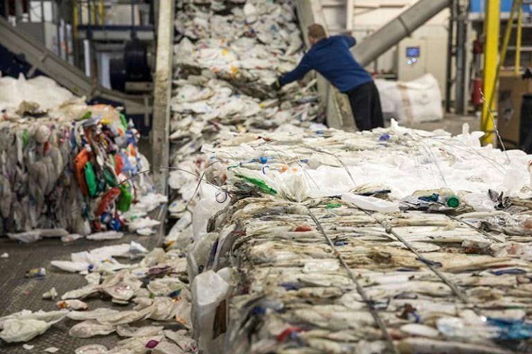 Recycled plastics entering the recycling line