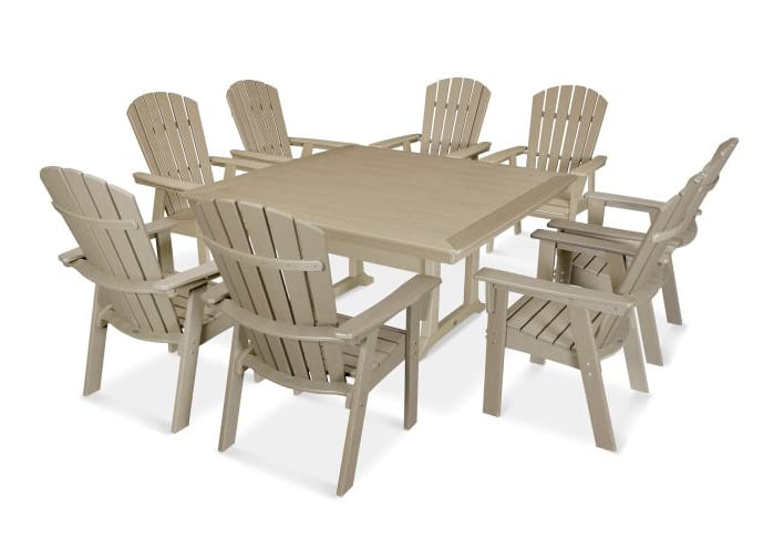 Nautical Adirondack 9-Piece Trestle Dining Set in Vintage Finish