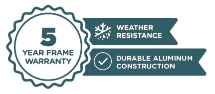 5 Year Frame Warranty | Weather Resistance | Durable Aluminum Construction