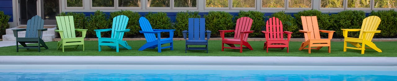 Adinrodack Chair lineup in multiple colors