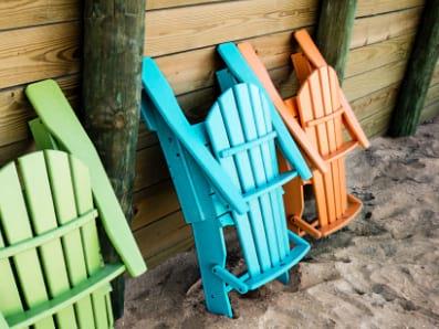 Group of folding Adirondack chairs